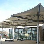 Shakespeare and Primrose School multi conic tensile fabric canopy by Fordingbridge 1 150x150 - آلاچیق مدرن و سایبان استخر پارچه ای