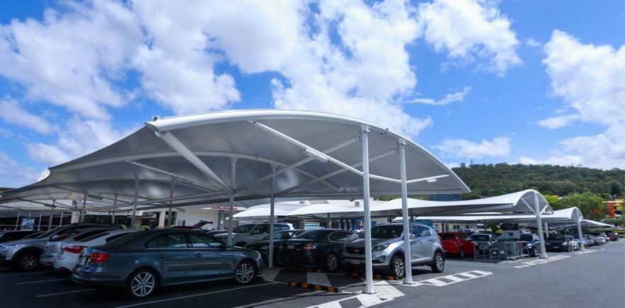 car parking fabric shade - سایبان و سقف متحرک (برقی)